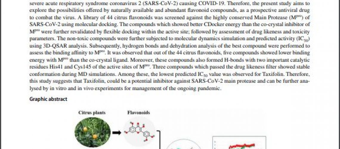 The latest study by Indian scientists on the effects of Dihydroquercetin on the COVID-19 coronovirus